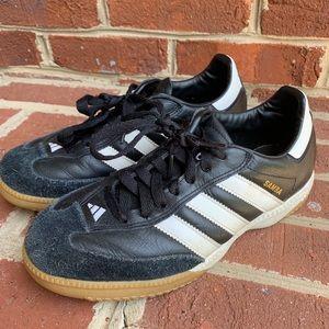 Black and white leather Adidas Sambas